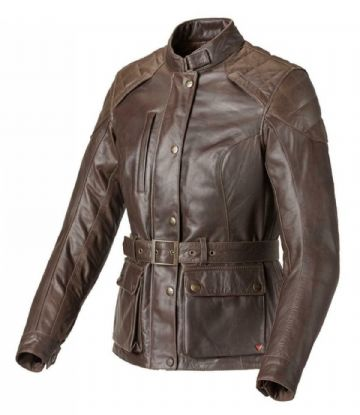 Triumph Ladies Beauford Leather Belted Motorcycle Motorbike Jacket D3O Armour